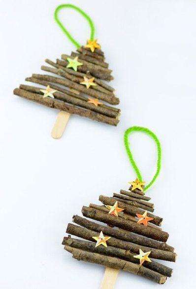 Decorazioni di Natale da fare con i bambini alberelli di legno