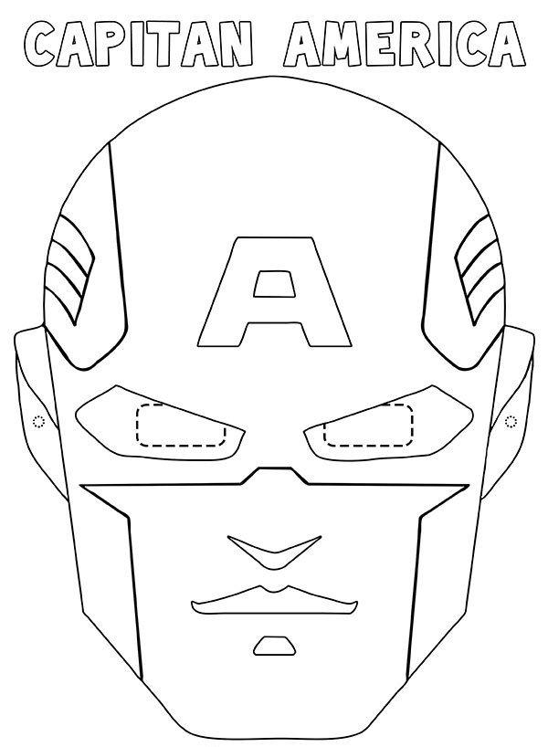 Maschera di Capitan America da stampare ritagliare e colorare