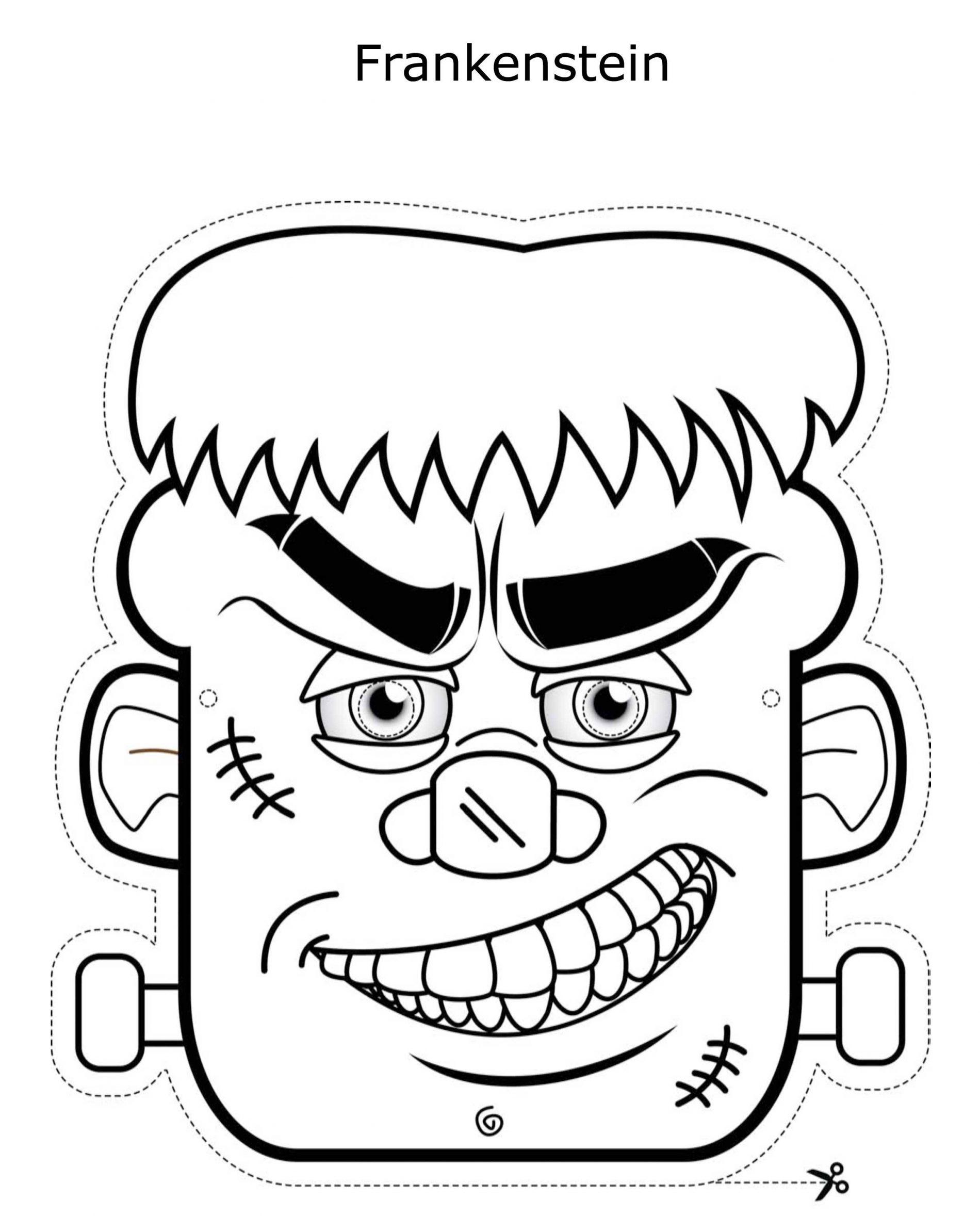Maschera Frankenstein da stampare ritagliare e colorare