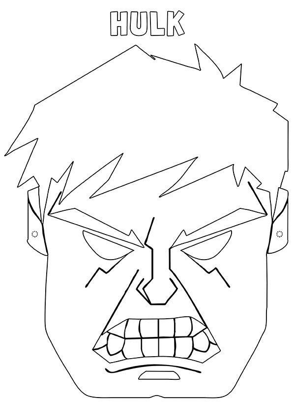 Maschera Hulk da stampare ritagliare e colorare