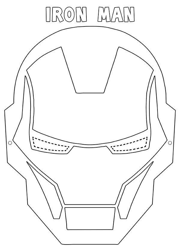 Maschera Iron Man da stampare ritagliare e colorare