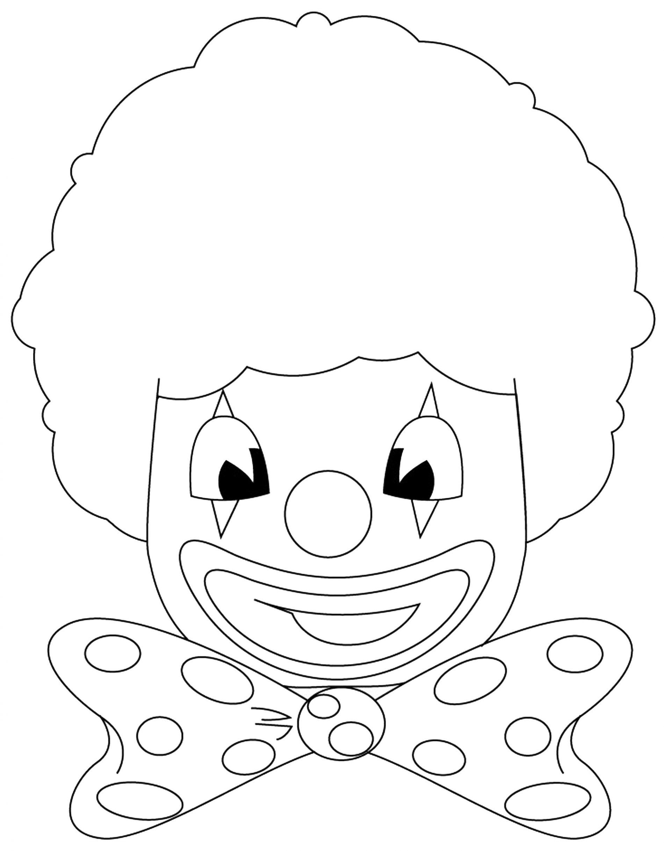 maschere da colorare per bambini da pagliaccio