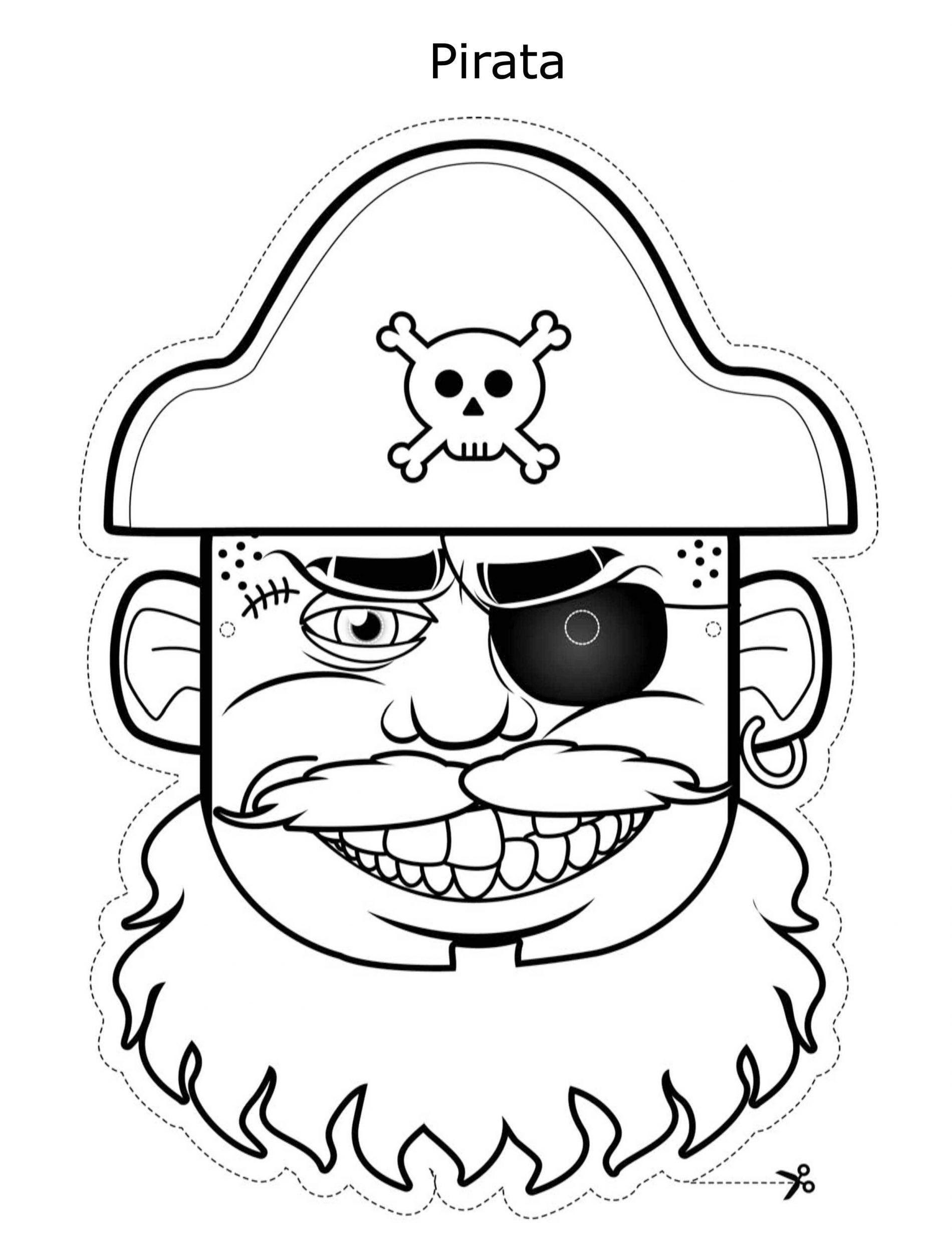 Maschera Pirata da stampare ritagliare e colorare