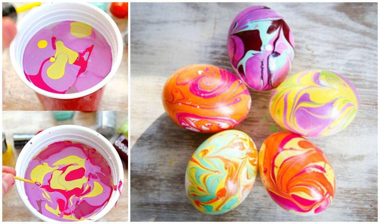 Uova di Pasqua effetto marmo