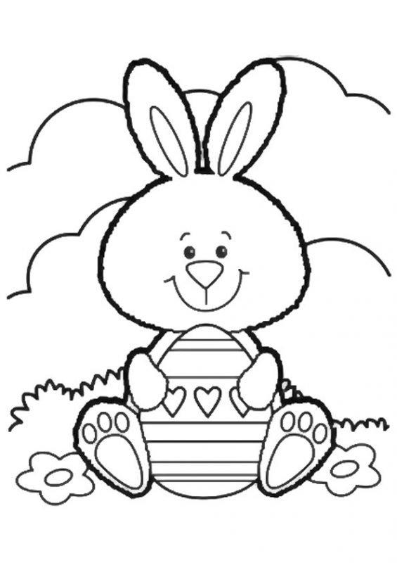 Disegno coniglietto con cuore da colorare