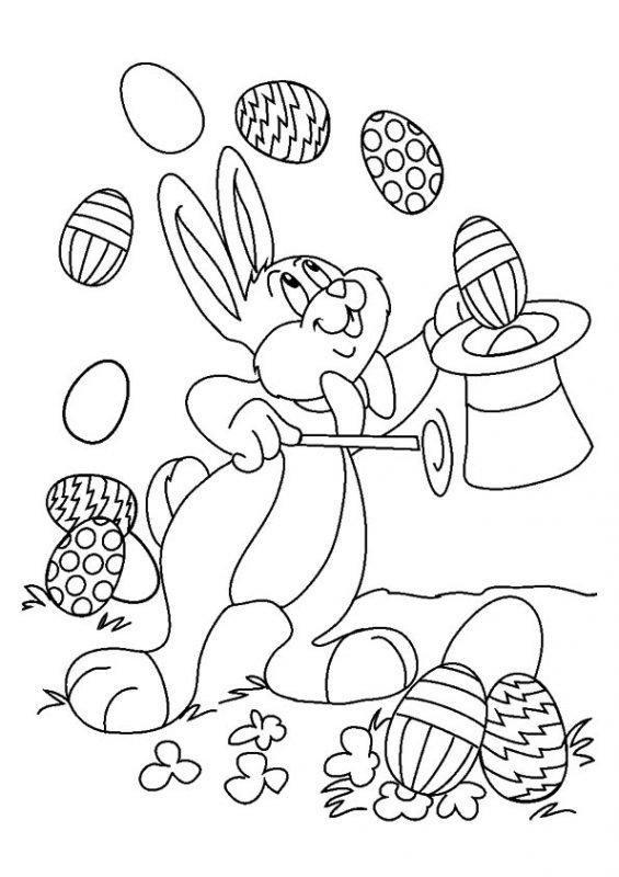 Disegno coniglietto mago di Pasqua da colorare