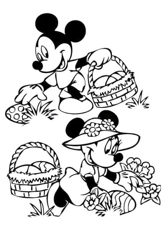 Disegno Minnie e Topolino caccia all'uovo