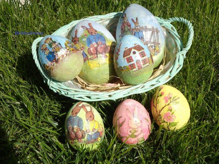Uova di Pasqua con decoupage