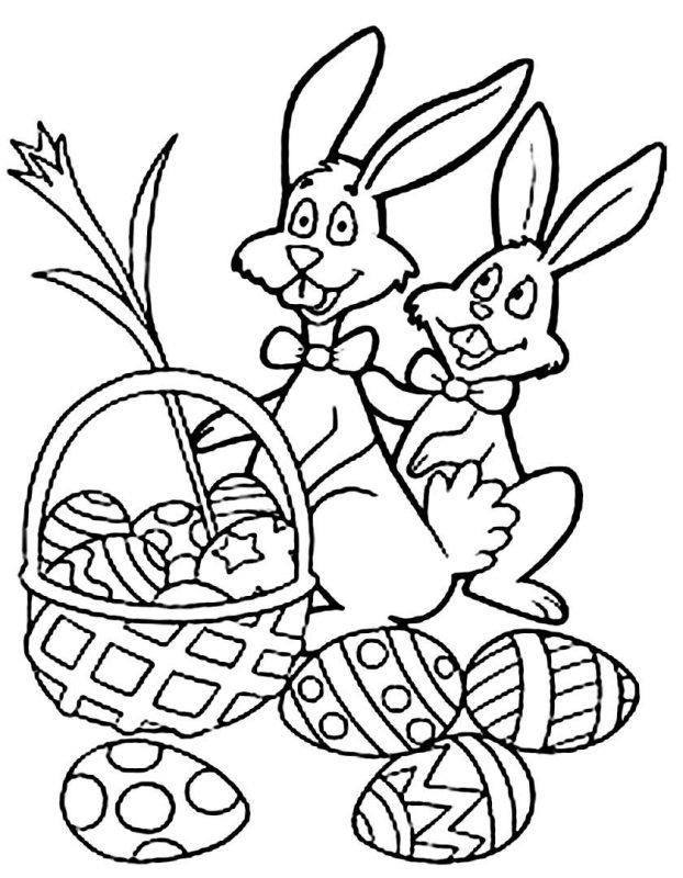 Coniglietti pasquali da colorare gratis