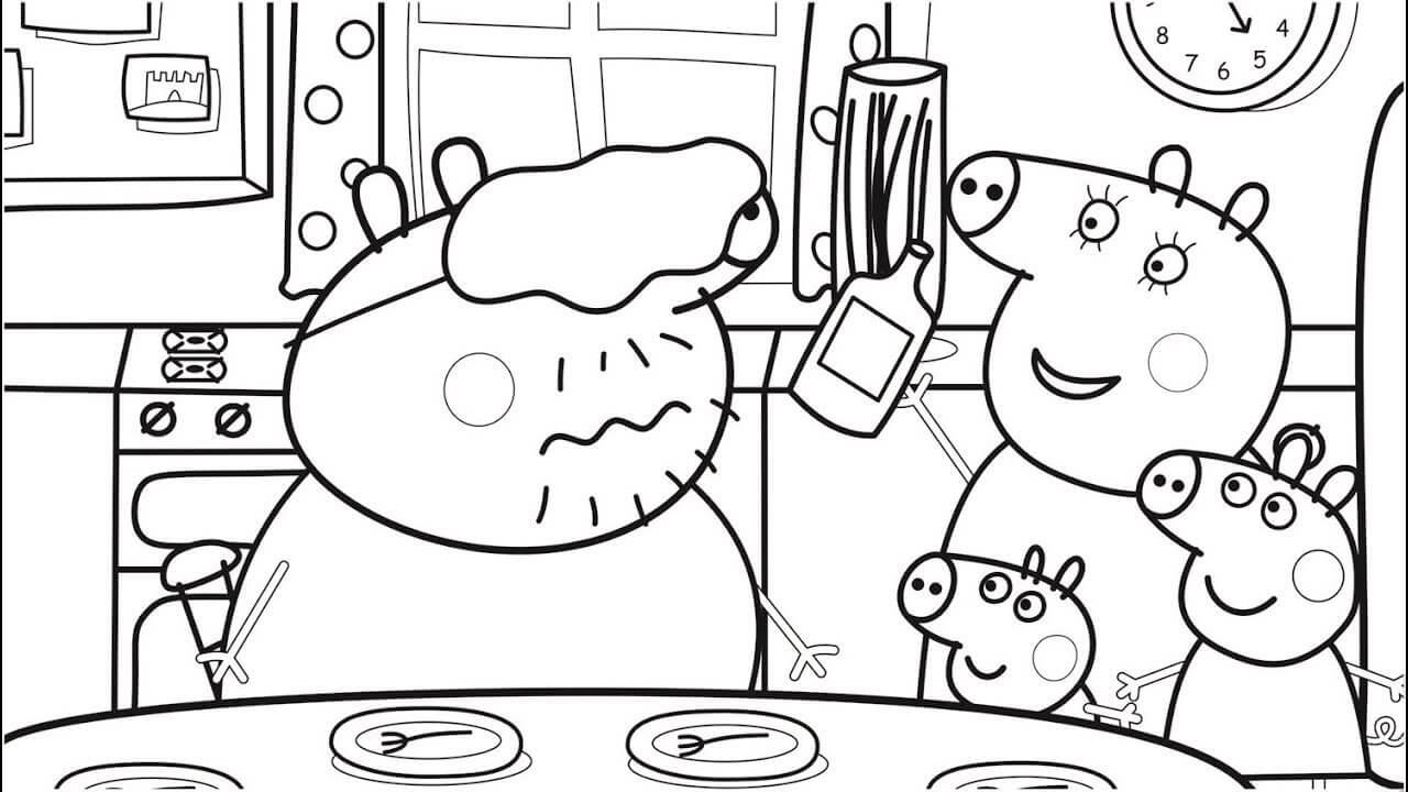 casa di peppa pig da colorare