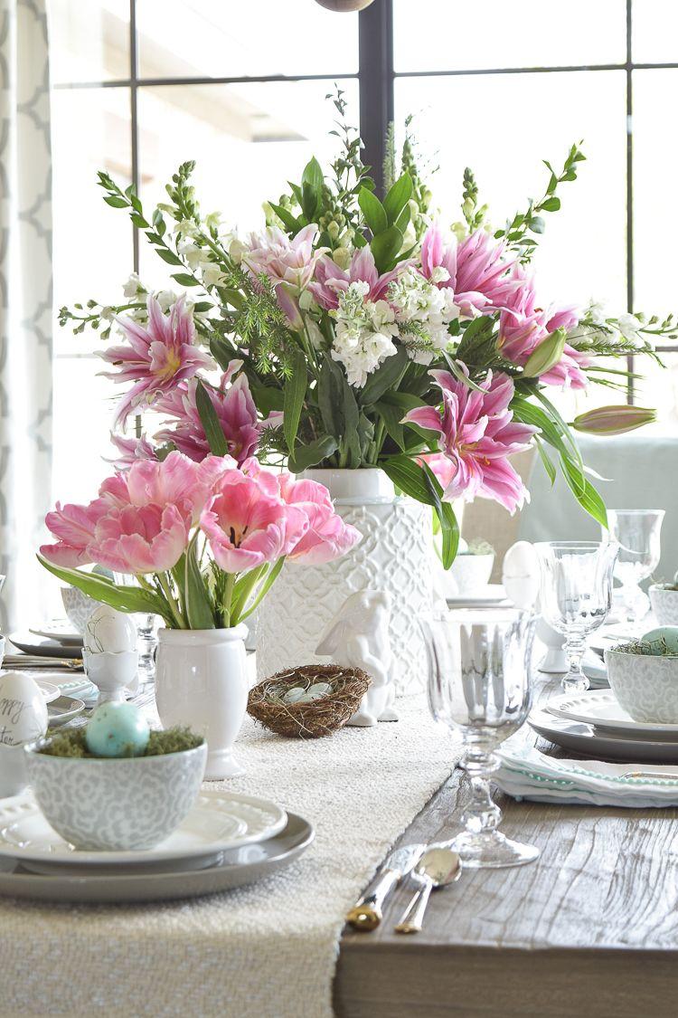 centrotavola pasquale con fiori