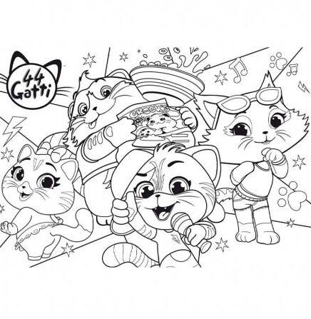 disegni da colorare 44 gatti
