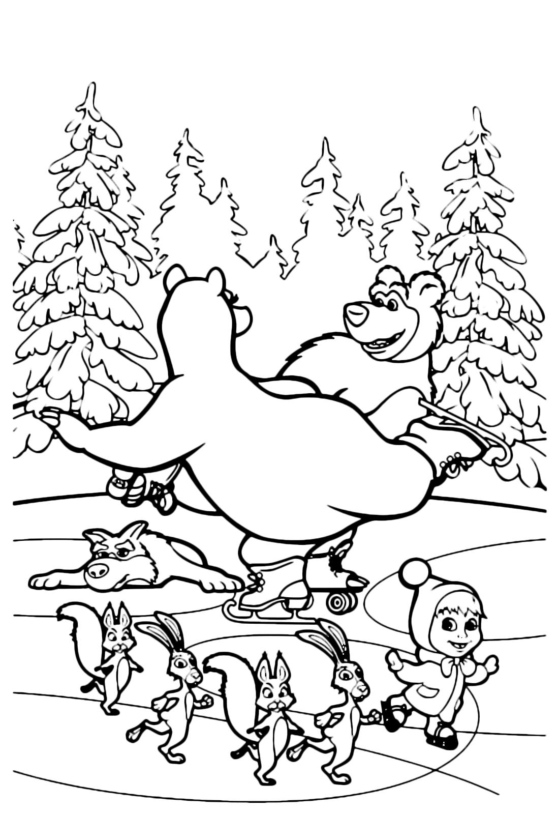 disegno masha e orso